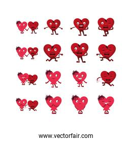 Isolated hearts cartoons set vector design