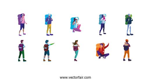 Isolated hikers with bags set vector design