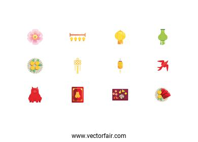 Isolated chinese icon set vector design