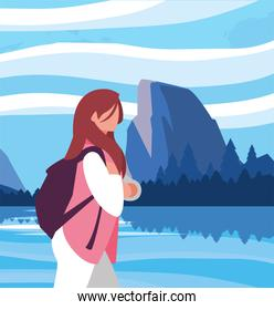 Hiker woman with bag and landscape vector design