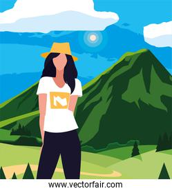 Avatar woman in front of landscape vector design