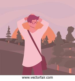 Avatar man in front of landscape vector design