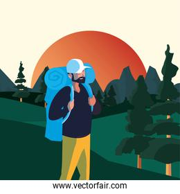 Hiker man and landscape with bag vector design