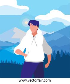Hiker man and landscape vector design