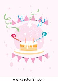 Happy birthday cake and banner pennant vector design