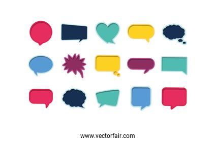 Isolated communication bubbles set vector design