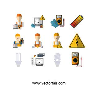 Isolated electric equipment icon set vector design