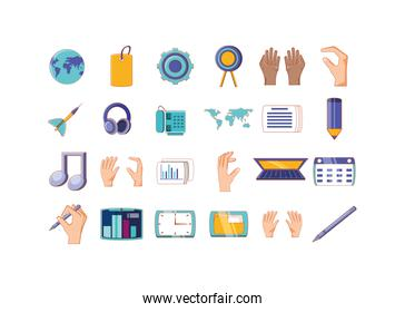 Isolated business and office icon set vector design