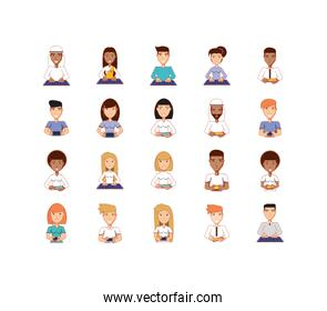 Isolated women and men avatars with technology vector design
