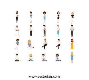 Isolated women and men avatars with smartphones vector design