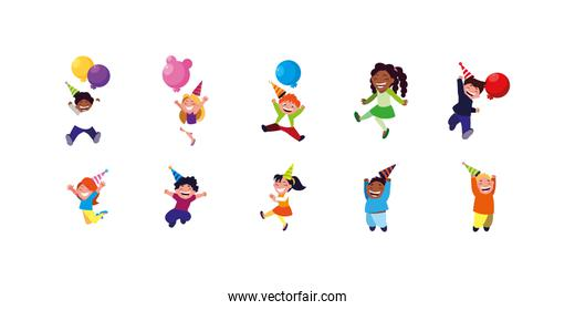 Happy birthday kids set with balloons and hats vector design