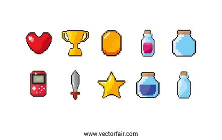 Isolated videogame icon set vector design