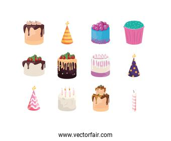 Happy birthday cakes and hats set vector design