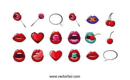 Isolated female mouths set vector design