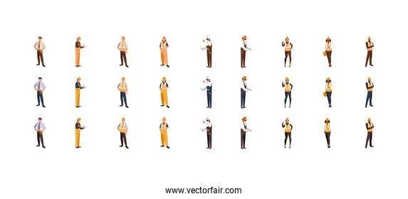 Isolated builder men women with yellow and white helmet set vector design