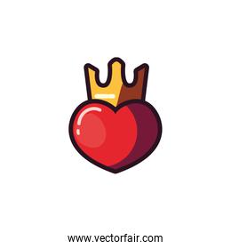 Isolated heart with crown vector design