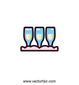 Isolated champagne cups vector design