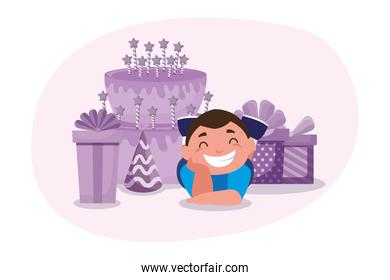 boy cartoon with happy birthday gifts cake and hat vector design