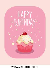 Happy birthday cupcake poster