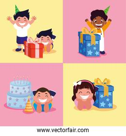 boys and girl with happy birthday cake and gifts vector design