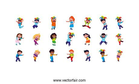 Isolated boys and girls with mardi gras masks icon set vector design