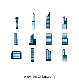 Isolated city buildings set vector design