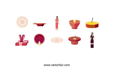 Isolated indian icon set vector design