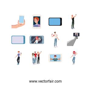 Isolated smartphones and selfies set vector design