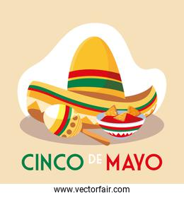 hat mexican and maracas with label cinco de mayo