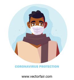 man with surgical mask, protection against coronavirus in public place