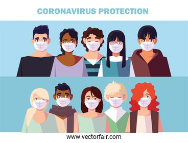 people with medical face mask, coronavirus prevention