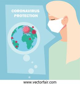woman with surgical mask, protection against coronavirus in public place