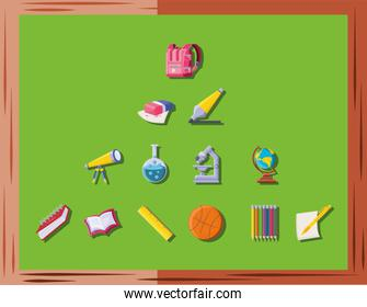 set of icons school on green background