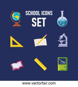 set of icons school on blue background
