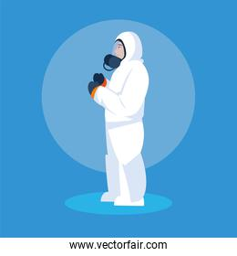 man in protective suit safety clothing