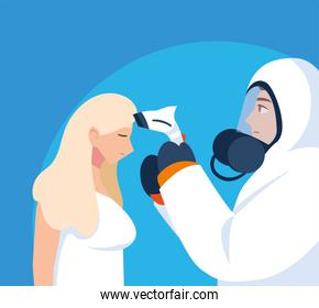 medical professional in protective clothing diagnoses a person