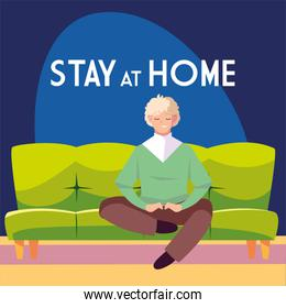 stay at home awareness social media campaign and coronavirus prevention man sitting on the sofa