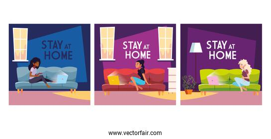 set of card with stay at home label by coronavirus