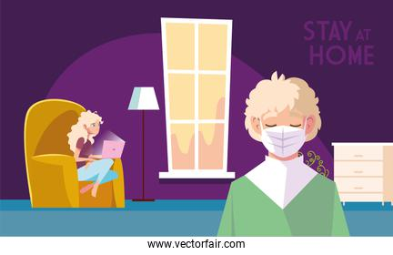 stay at home awareness social media campaign and coronavirus prevention, couple share in the home