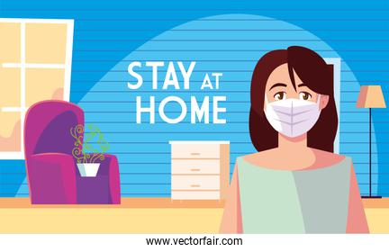 stay at home awareness social media campaign and coronavirus prevention, woman in the living room
