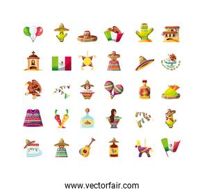 set of icons cinco de mayo on white background