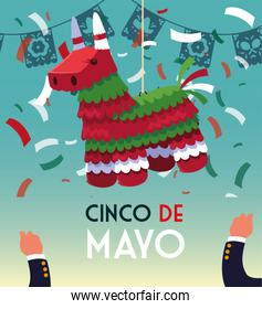 cinco de mayo card of greeting with mexican party pinata