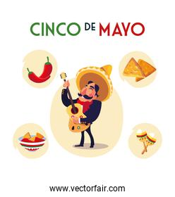 mexican mariachi with set icons of the cinco de mayo