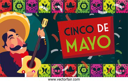 cinco de mayo card of greeting with mexican mariachi