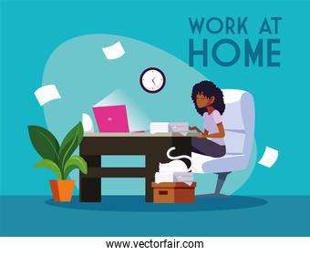 woman freelancer working remotely from her home, work at home