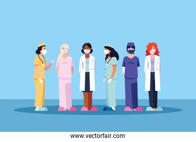 women doctors standing, medical team