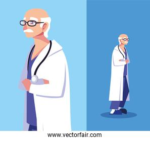 man doctor standing in different poses