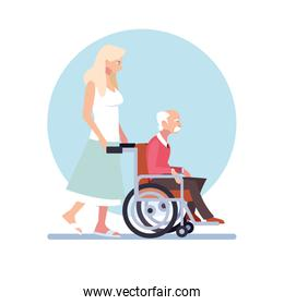 young woman take care of old man