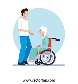 young man take care of old woman