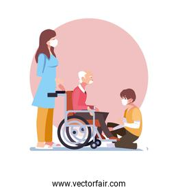 young people take care of old man in wheelchair